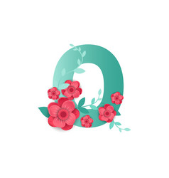 color number 0 with beautiful flowers vector image