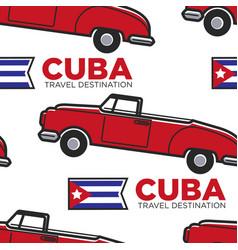cuban retro car and flag cabriolet seamless vector image
