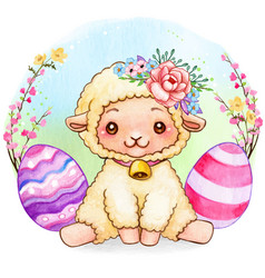 cute watercolor easter lamb with flowers vector image