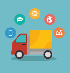 delivery truck with social media marketing icons vector image