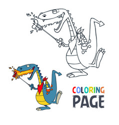 dinosaur cartoon coloring page vector image