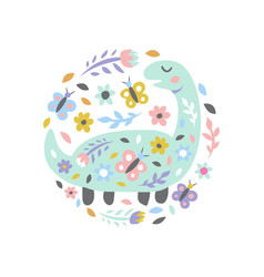 dinosaur with flowers and butterflies on white vector image