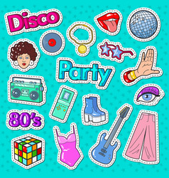 Disco party vintage style stickers badges vector