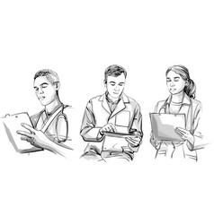 Doctors working set sketch storyboard detailed vector