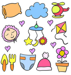 doodle of baby colorful element vector image
