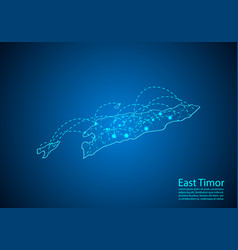 east timor map with nodes linked by lines concept vector image