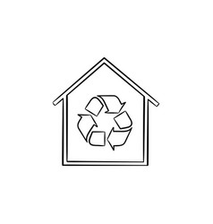 eco house with recycle symbol hand drawn icon vector image