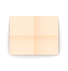 Empty old sheet of paper folded in fourfold vector image