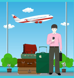 european businessman at the airport vector image