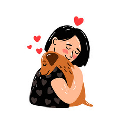 Female and dog vector