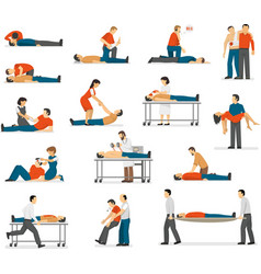 First Aid Emergency Flat Icons Set vector