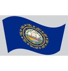 Flag of new hampshire waving on gray background vector