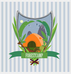Flat forest camp label template vector