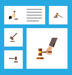 flat icon lawyer set of court tribunal crime and vector image