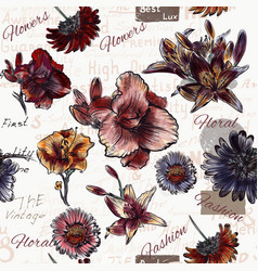 Floral seamless background with watercolor style vector