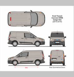 Ford transit connect swb cargo 5 doors 2013-2018 vector
