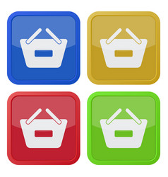 Four square color icons shopping basket minus vector