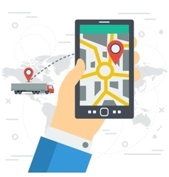 Freight monitoring on phone screen vector image