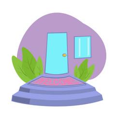 front door with welcome doormat in door vector image