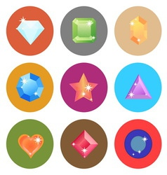 Gem stone flat color icons on white background vector image