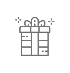 gift box holiday packing party box line icon vector image
