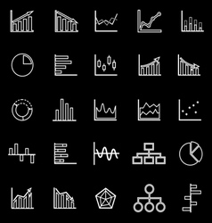 Graph line icons on black background vector