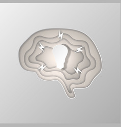 gray silhouette of the brain carved on paper vector image