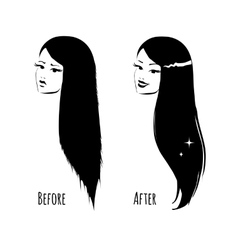 Hair before and after vector image