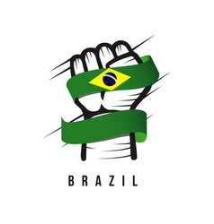 Hand and flag brazil template design vector