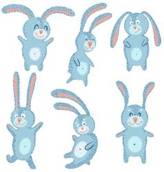 happy cute cheerful rabbits set vector image