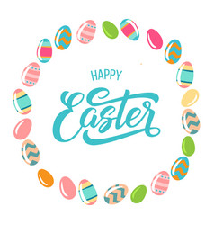 happy easter text with easter eggs frame isolated vector image