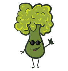 happy green broccoli with sunglasses on white vector image