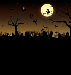 Happy Halloween Pumpkin in moon night on black sky vector image