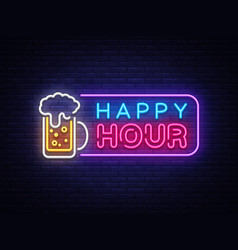 Happy hour neon banner design template vector