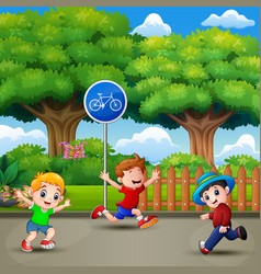 happy kids running and playing in the city park vector image