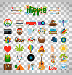 Hippie flat icons on transparent background vector