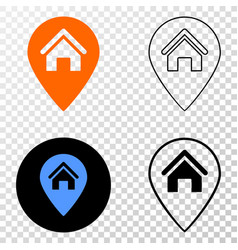 house map marker eps icon with contour vector image