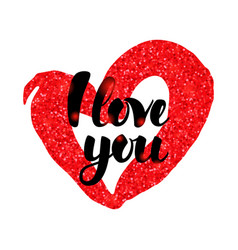 i love you red handwritten inscription vector image