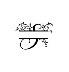 initial s decorative plant monogram split letter vector image