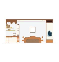 Interior bedroom design with furniture vector
