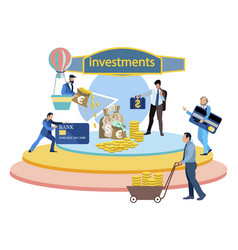 Investment in startup company business flat vector