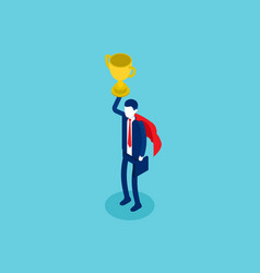 isometric businessman a winner cup over head vector image