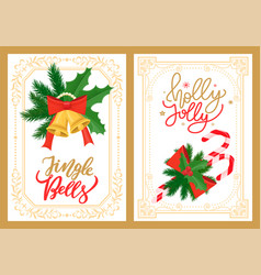 jingle bells and holly jolly greetings christmas vector image
