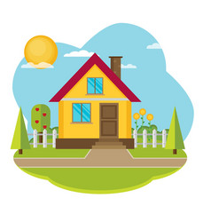 landscape with beautiful house vector image