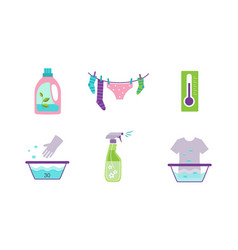 laundry set equipment and facilities for washing vector image