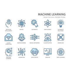 Machine learning line icons set vector