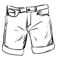 man shorts drawing on white background vector image