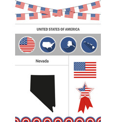 Map of nevada set of flat design icons vector