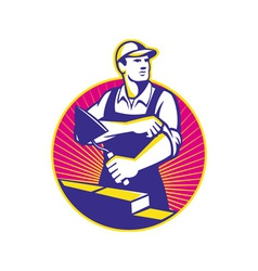Mason Masonry Construction Worker Trowel vector image