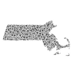 massachusetts state map of triangles vector image